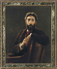 portrait of the architect p. norman, seated, in a brown coat by charles napier kennedy
