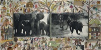 cow elephant herd at buffalo springs, kenya (from the end of the game) (2 works) by peter beard