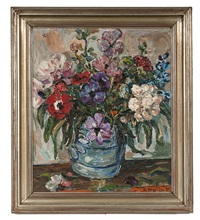 still life with flower bouquet in vase by albin amelin