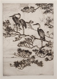 herons in a pine tree by frank weston benson
