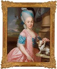 bildnis einer dame in einer rosafarbenen robe mit blauen bändern, ein kätzchen fütternd by johann eberhard ihle