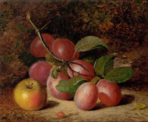 plums and an apple on a mossy bank by charles archer