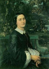 portræt af en dame siddende i en have med en vifte i hånden by joseph-benoit guichard