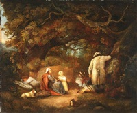 travelers encamped in the woods by george morland