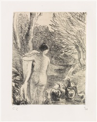 gardeuse d'oies nue by camille pissarro
