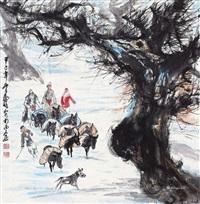 赶集图 立轴 纸本 by huang zhou