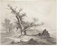 paesaggio con albero e veduta costiera by august wilhelm julius ahlborn