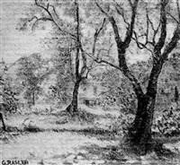 paysage aux arbres et à la cabane by georges rasetti