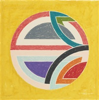 sinjerli variation squared with colored ground ia (from sinjerli variations squared with colored grounds) by frank stella