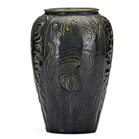 ovoid vase in plum and incised scrollwork by arequipa pottery