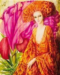 damenportrait vor pinkfarbener calla by philippe augé
