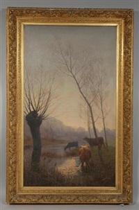 vaches en lisière de forêt et vaches en bord d'étang (2 works) by rené peyrol