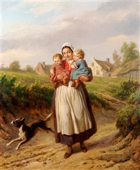 mother and children on path by hendrick joseph dillens