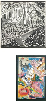 the candles; and swan engraving ii (2 works) (from swan engravings) by frank stella