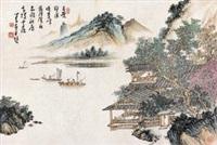 秋江扬帆图 by pu ru