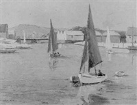 sailingboats on the river arun, littlehampton by leslie kent