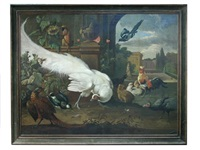 a white peacock, pheasant, lapwing, magpie, brown spider monkey, cockerel, bantams and a guinea fowl in an ornamental parkland landscape by melchior de hondecoeter
