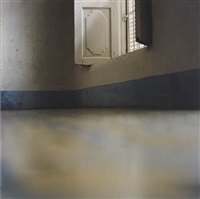 window with blue skirting board by elisa sighicelli