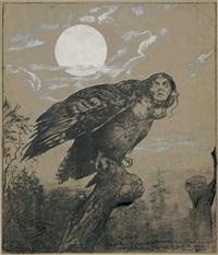 harpye, auf einem ast sitzend by hans thoma