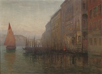 dawn on the grand canal, venice by mikhail rundaltsov