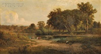 shepherdess and cattle at a river's edge by john william casilear