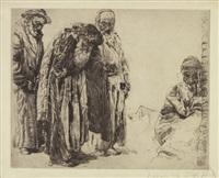 orientalische szene mit vier figuren by erich wolfsfeld