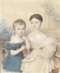 bildnis eines knaben in blauem kleid und eines mädchens, ein bilderbuch haltend by johann nepomuk ender