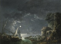 view of a moonlit mediterranean harbor by carlo bonavia