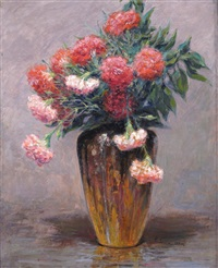 still life of chrysanthemums in a vase by pere isern alié