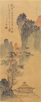 万壑秋风 镜片 设色金笺 (landscape) by pu ru