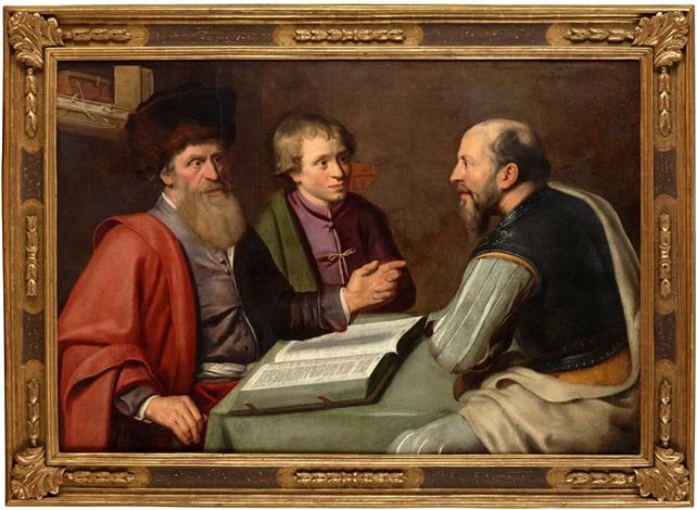 interiör med tre män by lambert jacobsz