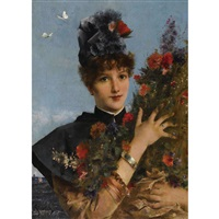 femme aux fleurs by alfred stevens