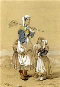 a peasant girl carrying a hoe accompanied by two children, the sea beyond by alfred andré géniole