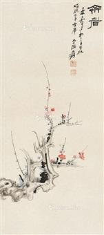 梅花 立轴 纸本 by zhang daqian