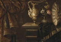 a rose, narcissi and morning glory in a glass vase, with a sculptured ewer and a salver on a partially draped table by francesco fieravino (il maltese)
