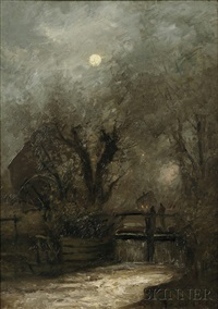 old mill in the moonlight by charles henry miller