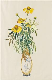 margariten in hoher vase by gabriele münter