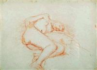 nu féminin allongé sur le côté gauche, les jambes repliées by charles despiau
