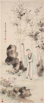 scholar in the garden by zhang daqian