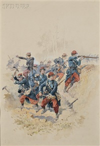 military scenes: prise de saorge par le general massena (alpes-maretimes) avril pres nice and in the trenches (2 works) by pierre comba