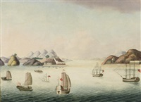 a view of the bocca tigris, the southern end of the pearl river leading up to canton, with three western ships in the foreground and three chinese... by anglo-chinese school (19)