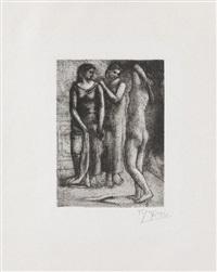 deux femmes regardant un modèle nu by pablo picasso
