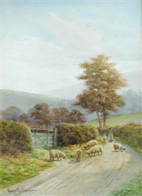 sheep and shepherdess on a country lane, dorset by george oyston
