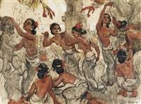 eight balinese dancers by adrien jean le mayeur de merprés