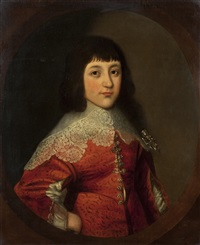half length portrait of a boy wearing a red coat, said to be charles, prince of wales, later charles i by gilbert jackson
