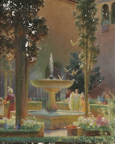 a moorish garden alhambra by charles courtney curran