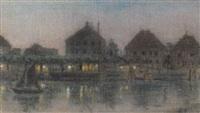 städtische flußansicht mit promenade bei nacht by albert aereboe