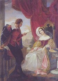 ungt par i renaissancedragter. antagelig forestillende william shakespeare, der læser op af et af sine værker by cesare mussini