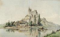 blick über die lahn auf die ehemalige stiftskirche st. lubentius in dietkirchen by peter becker