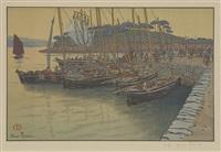 arrivée de bateaux à tréboul (from beau pays de bretagne) by henri rivière